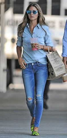 Denim on denim with a touch of neon, Olivia Palermo FTW.