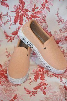 Купить Слипоны валяные женские Песок - золотой, обувь ручной работы, мокасины женские