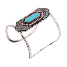 Women's Silver Plated Hexagonal Geometric Turquoise Agate Fashion Cuff Bangles!!   #Cuff #Bracelet #Bangles #Hot #New #Bohemian #Indian #Turkish #Mosaic #Style #Women's #Statement #Jewelry