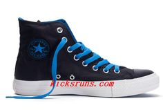 2013 Classic Converse Black High Tops Blue Laces Chuck Taylor All Star Canvas Shoes  #Wonderful #black #shoes