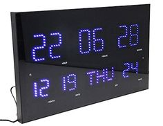 Slim  Large Metal  Glass Digital Clock Jumbo Display with Blue LED Light Wall Clock 24 Hours Format Display with Calendar  Thermometer *** You can get additional details at the image link.