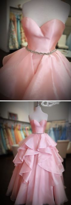 sweetheart pink long ball gown, pink long prom dress P3225