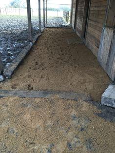 Nachher (Laufstall 2)   Vorbau wurde um 3 Meter erweitert.  Boden wurde ausgehoben mit Bahnschwellen umfasst und mit Sand aufgefüllt.  Am Eingang liegen RasengitterSteine die mit Sand aufgefüllt wurden.