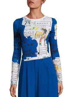 Alice + Olivia - Alice + Olivia X Basquiat Delaina Printed Cropped Top