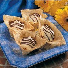 Tortilla Dessert Cups recipe from Taste of Home.  Quick, easy and certain to please your sweet tooth. 1 dessert cup equals: 130 Calories, 4 g Fat, 2 g Saturated Fat, 5 mg Cholesterol, 178 mg Sodium, 19 g Carbohydrate, Trace Fiber, 4 g Protein.