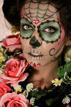 catrina, day of the dead makeup, sugar skull Sugar Scull, Sugar Skull Face, Sugar Skull Makeup, Sugar Skull Girl, Yeux Halloween, Halloween Face Makeup, Halloween Dress, Halloween Stuff, Scary Halloween