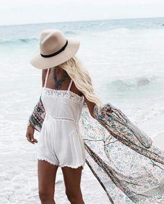 White beach romper and flowing kimono