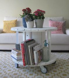 Cable Reel as a coffee table, with caster wheels.