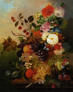 Poppies, Peonies, Roses and other Flowers with Grapes on a Marble Ledge,  Jan Van Der Waarden (1811-1872)