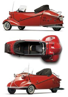1957 - Messerschmitt Kabinenroller KR 201 Convertible Roadster / 9 feet 3 inches / rear engine, 87 miles per gallon / polished chrome, candy red paint, snakeskin interior / production 300 / recently sold for $103,500.00 / post-war Euro bubble car...
