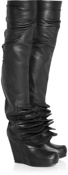 Rick Owens ~ Brancusi Leather Wedge Thigh Boots