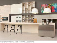 3 x eigenzinnige mix & match met Silestone® Kitchen Interior, New Kitchen, Kitchen Ideas, Wall Cladding, Kitchen Countertops, Mix Match, Kitchen Storage, House Colors, Surface Design