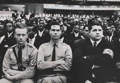 George Lincoln Rockwell (middle), founder of the American Nazi Party, attending a rally with the Nation of Islam.  In reality, Black and White nationalists are not enemies. This may seem counter-intuitive, but they both want racial separation and believe Jews are the source of all evil in the world. Furthermore, their target audiences are two different groups. Both ideologies are near identical with the colors reversed, as if they were mirrors of one another.
