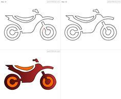 RGBsketch.com: How to draw Motorbike for kids - step by step - 1821