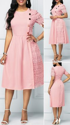 Light Pink Button Detail Lace Patchwork Dress, Source by mbommaih dresses classy party Prom Dresses With Sleeves, Modest Dresses, Simple Dresses, Elegant Dresses, Pretty Dresses, Cute Dress Outfits, Classy Outfits, Frock Fashion, Latest African Fashion Dresses