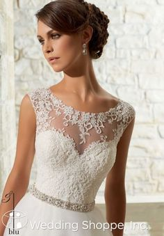 An affordable ball gown with a beautiful illusion neckline | Blu by Mori Lee Bridal Gown 5315