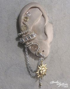 TIMELESS  STEAMPUNK ear cuff  silver and brass by bodaszilvia, $32.50