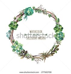 Vector flower wreath of succulents in a watercolor style. Vintage floral wreath. Decorative floral element for design of invitations, covers, notebooks and other items. Floral wreath ?4 - stock vector