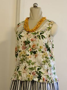 Womens Linen Floral Summer sleeveless tank top with raw edge frill along hem edge Floral Tops, Raw Edge, No Frills, Tank Tops, Summer, Shopping, Women, Fashion, Woman