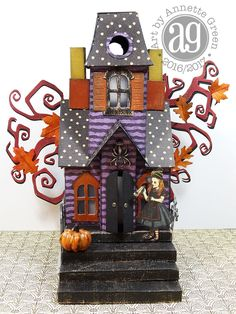 What an incredibly fun weekend I had creating this Whimsical Haunted Village. I think I used every Tim Holtz /Sizzix Halloween die I own, . Halloween Arts And Crafts, Halloween Cards, Holidays Halloween, Halloween Decorations, Halloween Books, Halloween Village, Halloween Haunted Houses, Paper Houses, Cardboard Houses