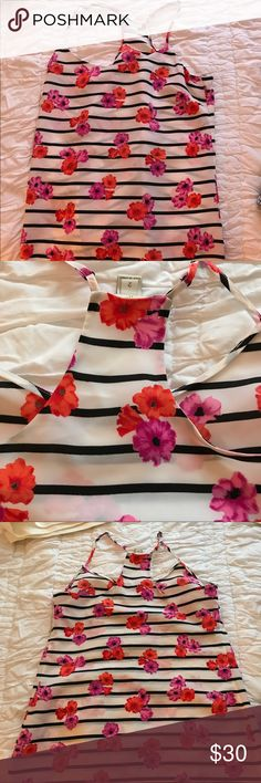 J.crew factory silk floral racerback tank top EUC white and black stripes with pink and red flowers, size 2 with adjustable straps, so cute J. Crew Factory Tops