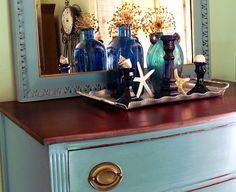 Aubusson Blue and Duck Egg Blue Chalk Paint® decorative paint by Annie Sloan. What a beautiful result!