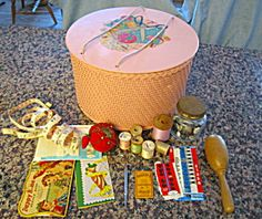 Patented pink Princess sewing box w/notions  for sale at More Than McCoy at http://www.morethanmccoy.com