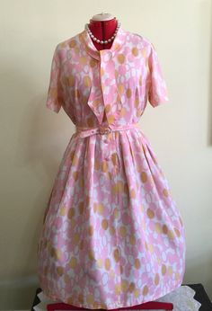 1950s Pink and Yellow Abstract Dot Pleated by SweetGingerVintage
