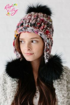 Looking for the perfect one skein hat pattern? The Pom Bomb Hat pattern by Knit Collage is the perfect cozy wool hat for those cozy cold days! Knit with our our chunky and thick Wanderlust yarn (color Spirit Animal shown here), this pom pom hat knits up q Crochet Baby Hats, Knitted Hats, Knit Crochet, Easy Knitting Patterns, Loom Knitting, Easy Knit Hat, Diy Hat, How To Purl Knit, Chunky Yarn