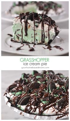 Grasshopper ice cream pie from yourhomebasedmom