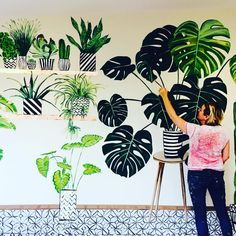 hand painted tropical mural Perrywood Garden Centre Giant botanicals and florals Mural Art, Wall Murals, Wall Art, Large Painting, Painting & Drawing, Hand Painted Walls, Wall Patterns, Wallpaper, Drawings