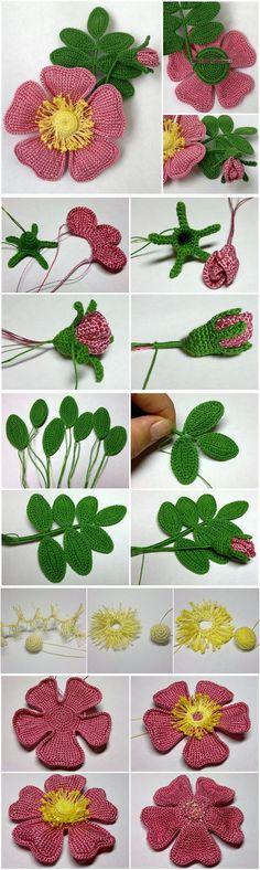 Rosas y hojas a crochet fácil y sencillo
