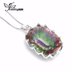 23ct Natural Mystic Rainbow Topaz Pendent Necklace Charm Women Jewelry Solid Genuine 925 Sterling Silver 2016 Fashion Gem #Affiliate