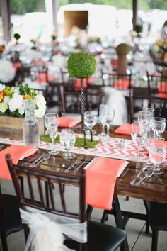 Like the coral chevron table runner idea? Chic Wedding, Wedding Trends, Wedding Designs, Summer Wedding, Our Wedding, Dream Wedding, Wedding Table, Wedding Mandap, Wedding Receptions