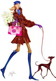 Art & Design By Arturo Elena - 1 Dog Illustration, Illustration Artists, Fashion Art, Fashion Models, Fashion Design, Moda Chic, Hippie Chic, Fashion Sketches, Fashion Illustrations