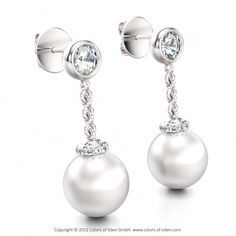 Pearl Earring with Diamonds