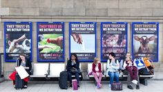 They trust us. We betray them. Go Vegan World posters in Newcastle UK train station.  Part of the Flat Earth movement in caring for EARTH!  Who decided upon us to create a hell for our creatures? We are supposed to care for them and look after them.