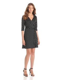 Star Vixen Women's Three-Quarter-Sleeve Faux Wrap Dress at Amazon Women's Clothing store:
