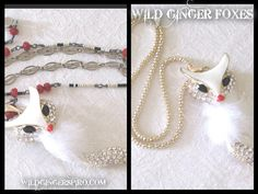 Fox Necklace Uptown Girl Beaded Fox Necklace Unique Eclectic Jewelry by WildGingerSpiro