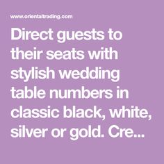Direct guests to their seats with stylish wedding table numbers in classic black, white, silver or gold. Create your own unique DIY wedding table numbers. Paper Doilies Wedding, Doily Wedding, Wedding Table Number Holders, Wedding Table Numbers, Party Supplies, Stylish, Black White, Create, Classic