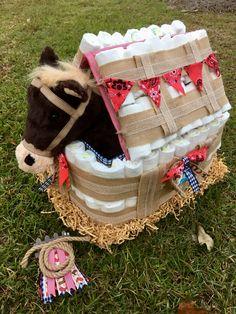 Cowboy Horse Barn Theme Diaper Cake By Handy Hut