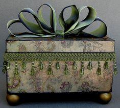 Romantic Olive Paisley Swirl Keepsake Trinket by funkyart08