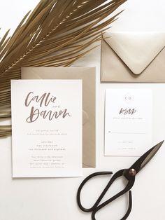 simple modern calligraphy wedding invitation | minimalist wedding invitation | industrial wedding inspiration | by bare ink co. on etsy #weddinginvitation