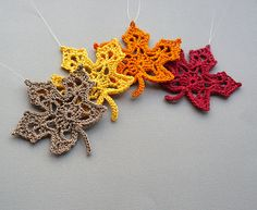 4 Crochet Maple Leaf Ornaments -- Multicolored Autumn Leaves -- Assortment M3