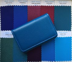Dark Winter Fabric Swatches in faux leather case. Your top ten colours in x swatches making shopping easy. Additional colours for dark winter available. Deep Winter Palette, Cool Winter Color Palette, Deep Winter Colors, Dark Winter, Rich Colors, Rock Chic, Color Swatches, Fabric Swatches, Grunge