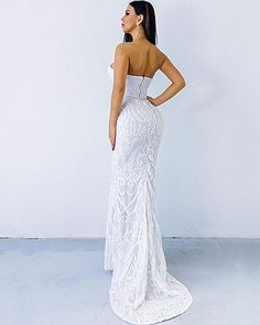 Miss ord Sexy Bra Strapless Sequin Wedding Evening Party Maxi Dress Evening Party, Evening Gowns, Unique Dresses, Formal Dresses, White Lace Maxi Dress, Sequin Wedding, Groom Dress, Sexy Bra, Special Occasion Dresses