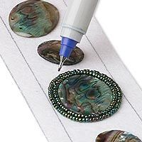 Great tutorial for how to do bead embroidery  http://www.firemountaingems.com/galleryofdesigns/jewelry_design_gallery.asp?docid=727T=gallery+and+project