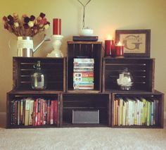 DIYed stained crates from Michael's. Handmade these with a friend!!