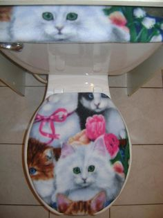 Cat Toilet Lid Covers | ... Kitty Cat Flower Fleece Fabric- Toilet Seat Lid And…