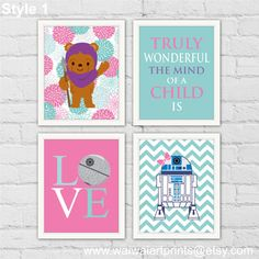 ★ YOULL RECEIVE 4 art prints, does not include frame.  ★ DETAILS Art Prints are printed with Original Epson Ink on High Quality Epson Archival Matt Paper / Heavyweight.  ★ ORDER INSTRUCTIONS 1. Select Size Options 2. Select Style Options  ★ SIMILAR VERSIONS https://www.etsy.com/listing/271836158/ewok-r2d2-jar-jar-binks-star-wars?ref=shop_home_active_1  ★ MATCH AT-AT https://www.etsy.com/listing/464834431/atat-star-wars-nursery-decor-girl-room?ref=shop_home_active_3…